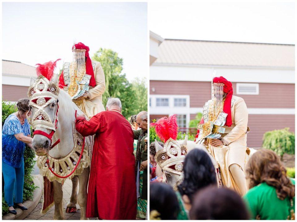 indian groom riding white horse at bertram inn