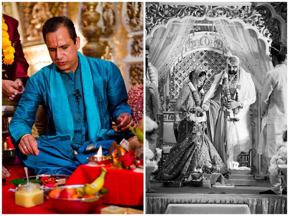 An image of a Hindu priest performing part of the wedding ceremony, and a black and white view of the bride and groom standing in prayer during the Hindu rituals at the Bertram Inn and Conference Center by Alayna Parker Photography  - Akron Ohio hindu wedding photography