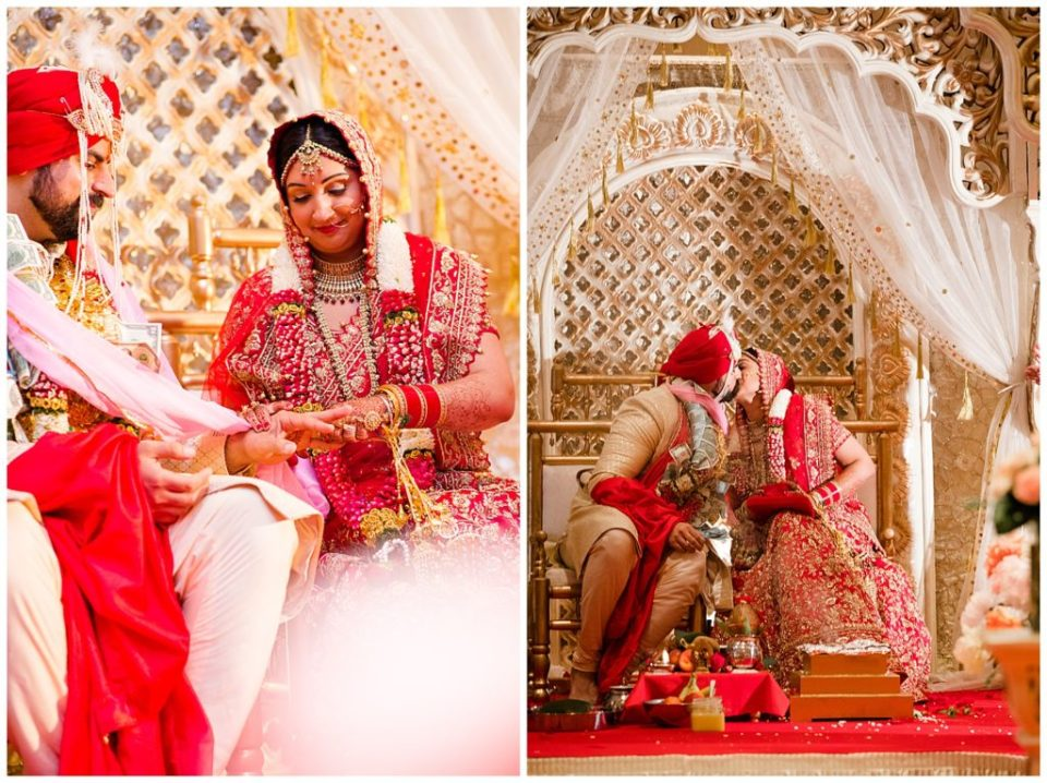 An image of the bride and groom exchanging rings at their Indian wedding, and a view of them kissing near the end of their Hindu ceremony at the Bertram Inn wedding venue by Alayna Parker Photography  - Akron Ohio hindu wedding photographer