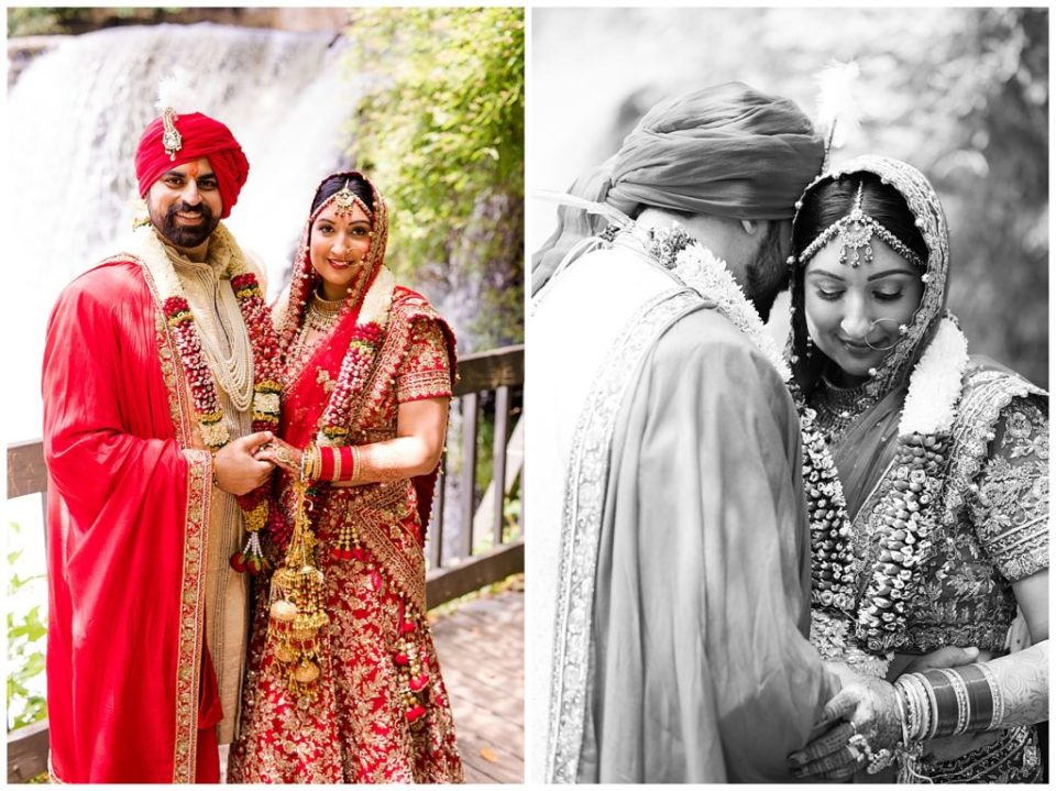 A picture of an Indian bride and groom in their colorful wedding clothes as they smile together in an outdoor setting, and a black and white view of the couple tenderly holding each other close in Chagrin Falls by Alayna Parker  - Cleveland  hindu marriage photographer