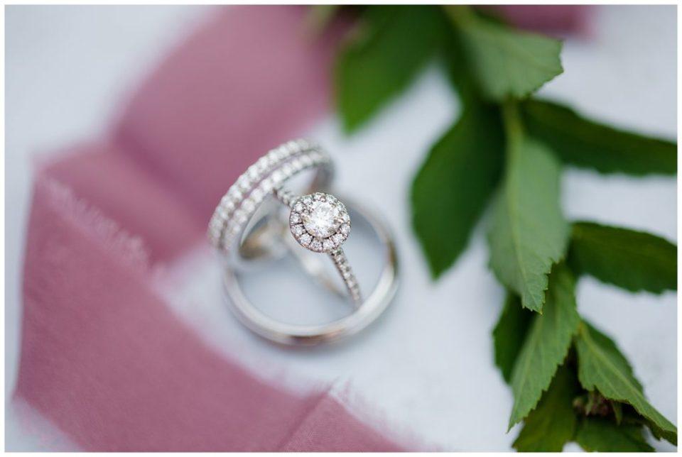 diamond engagement ring with 2 diamond wedding bands