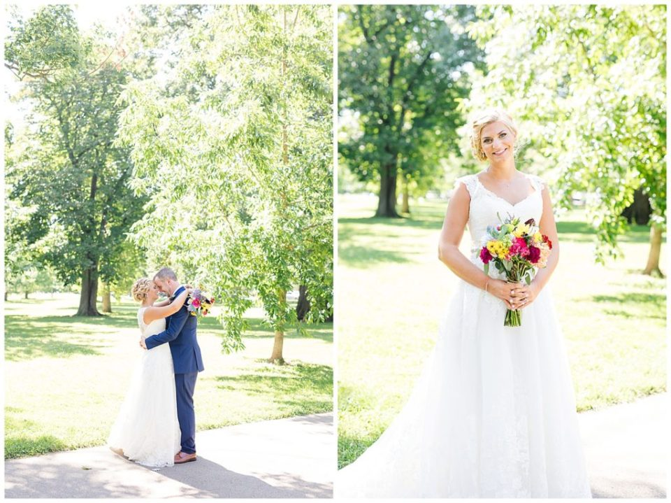 An image of the bride and groom holding each other, touching foreheads, in a sunny park, and a view of the beautiful bride smiling with her bouquet in Schiller Park in Columbus by Alayna Parker Photography  - Columbus Ohio wedding photographer