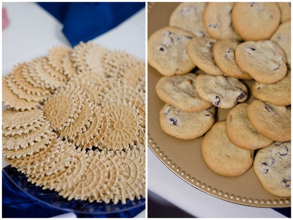 chocolate chip cookies at dessert table