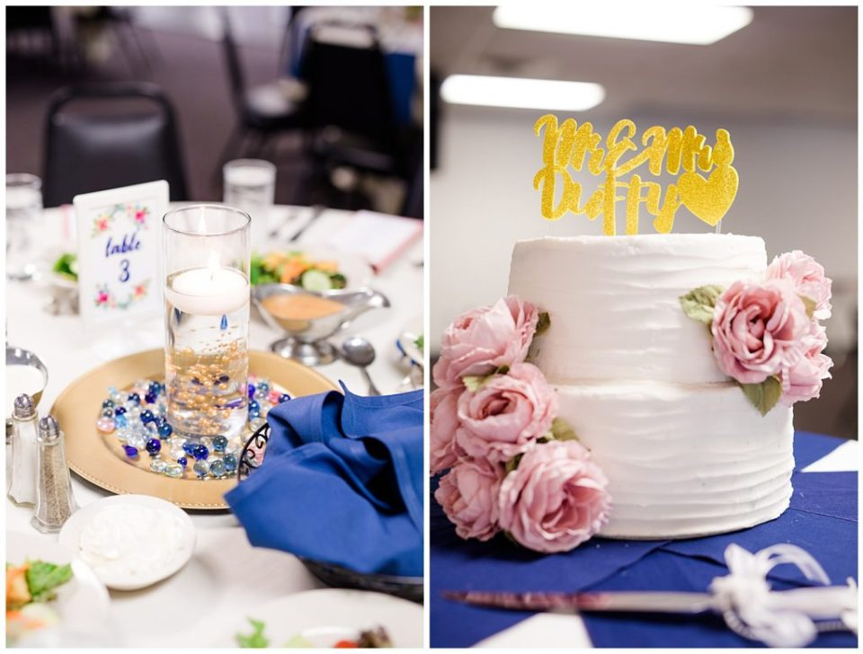 two tier white ruffle wedding cake