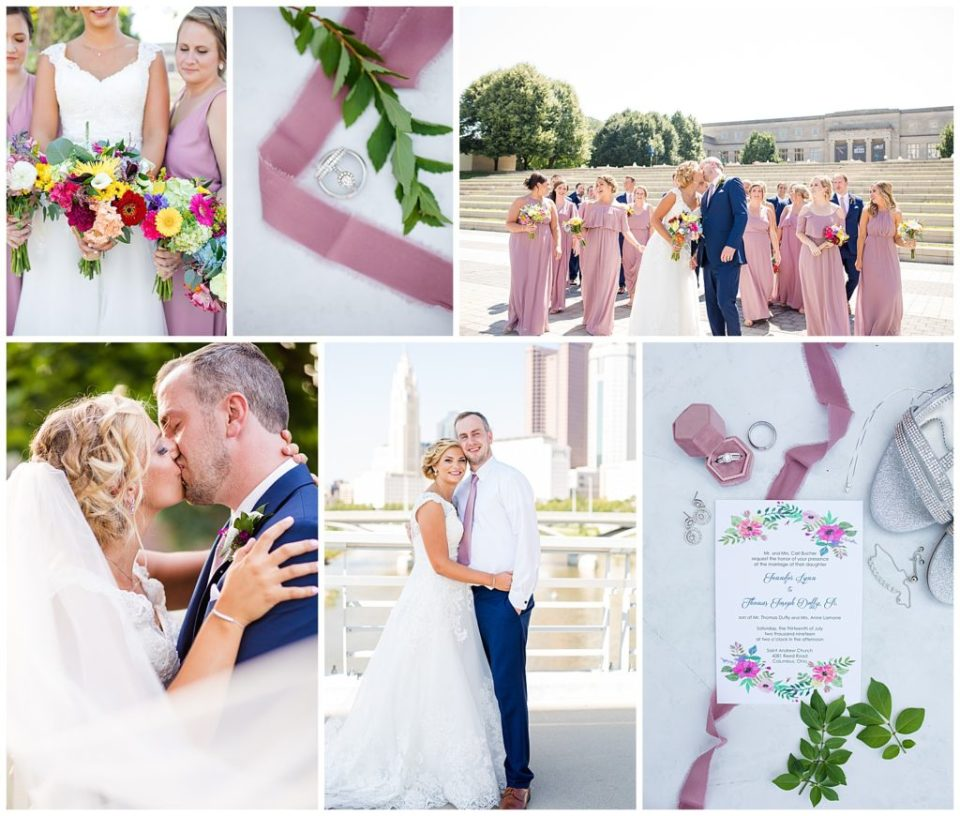 Collage of highlight images from TJ & Jenni's wedding in Columbus Ohio by wedding photographer, Alayna Parker