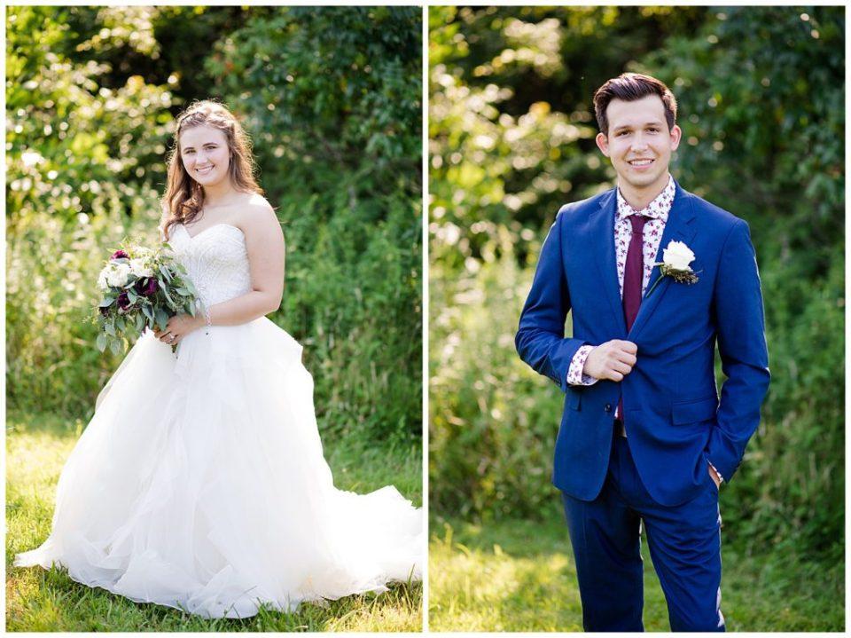 bride and groom posing individually and smiling at camera