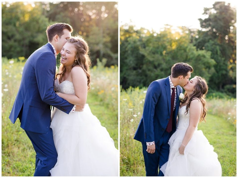 bride laughing as groom whispers in her ear in field at golden hour at cedar grove lodge