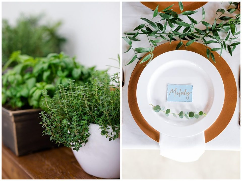 potted herbs as wedding decor