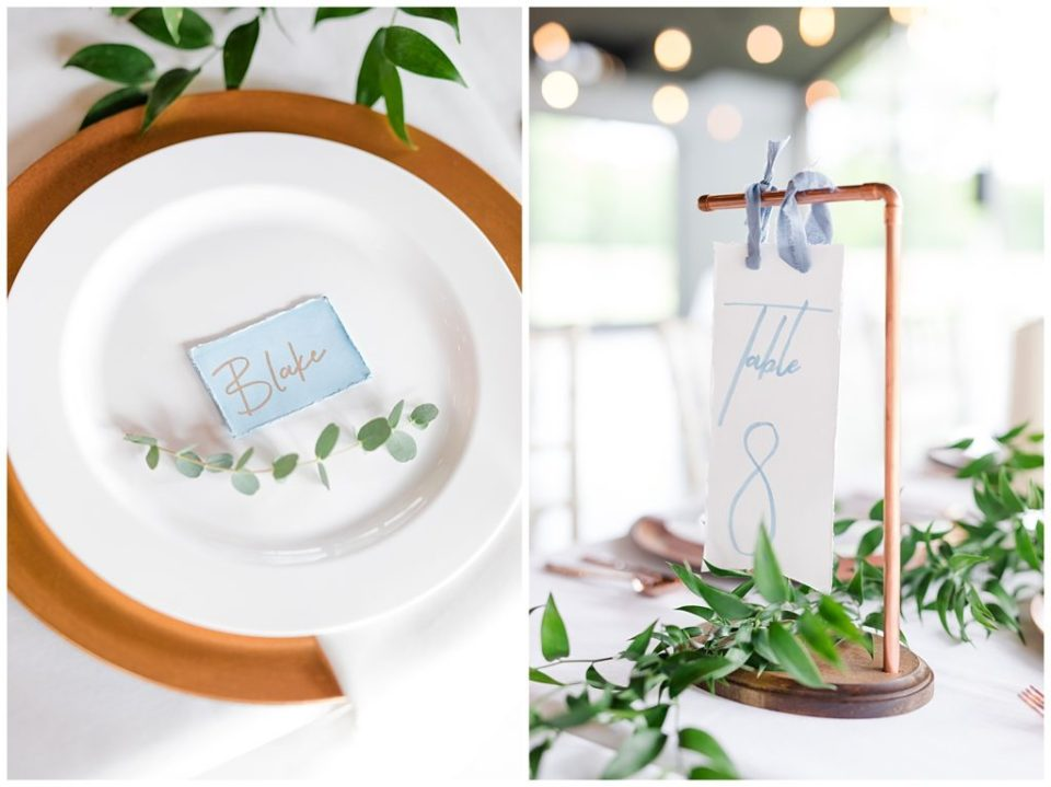 industrial copper and wood hanging table numbers at jorgensen farms oak grove