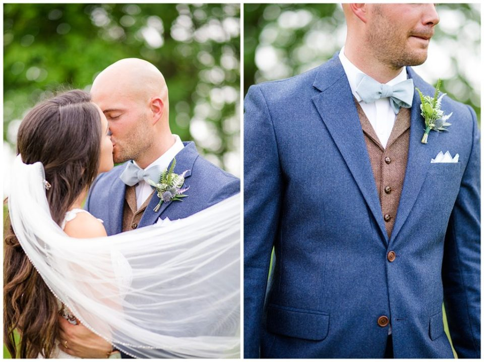 A photograph of the bride and groom kissing as the veil blows across their shoulders, and a closeup view of the groom's tuxedo and vest outfit at an Jorgensen farms Oak Grove wedding venue by Columbus OH wedding photographer, Alayna Parker Photography