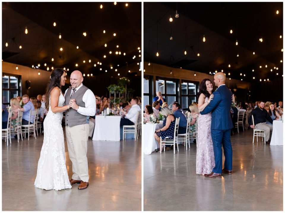 bride and stepfather and groom and mother dance at jorgensen farms oak grove