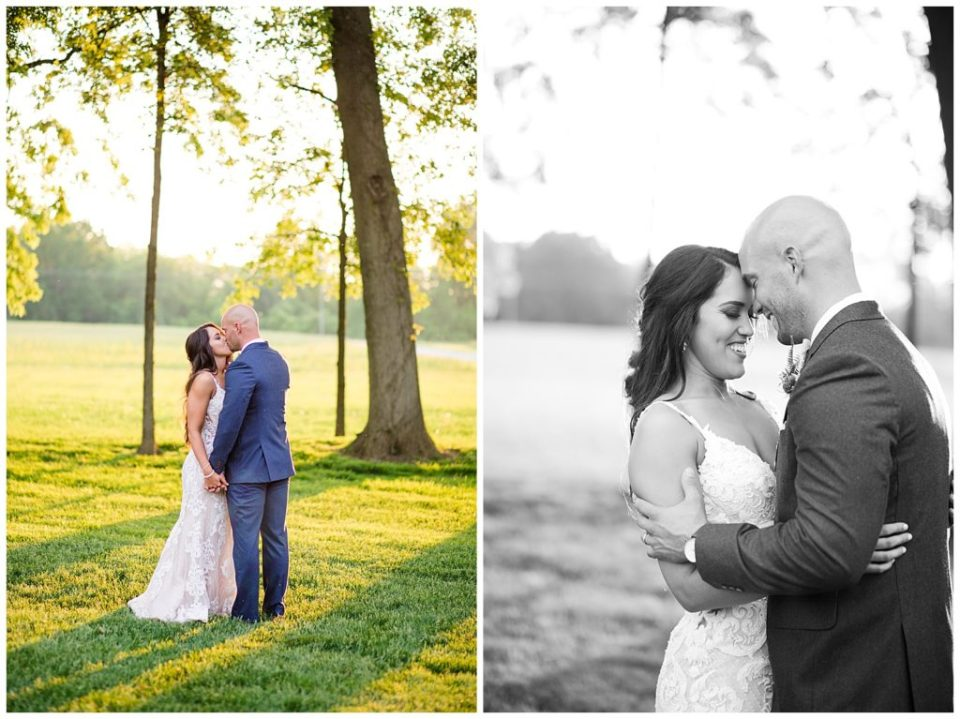 black and white image of bride and groom touching foreheads and smiling at jorgensen farms oak grove
