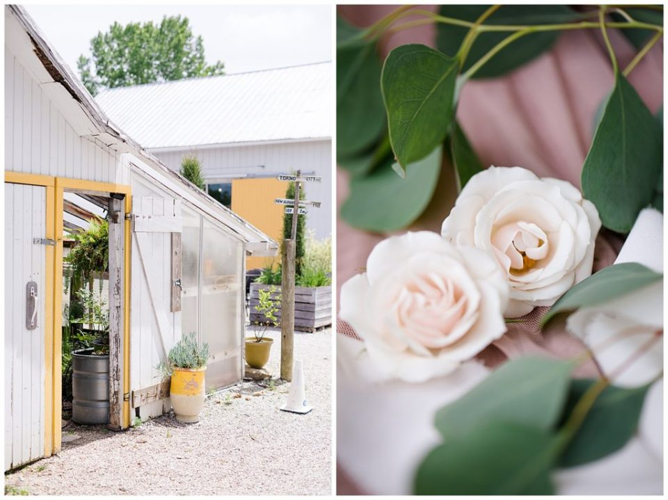 An image of a rustic farm building at the romantic setting of a wedding, and a closeup of the beautiful roses and leaves for a couple's wedding at Jorgensen Farms wedding venue by Alayna Parker  - Columbus Ohio wedding photographer
