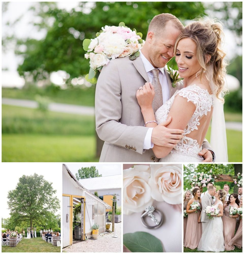 Collage of images from a wedding photography shoot at Jorgensen Farms near Columbus Ohio by Alayna Parker, wedding photographer from Columbus Ohio