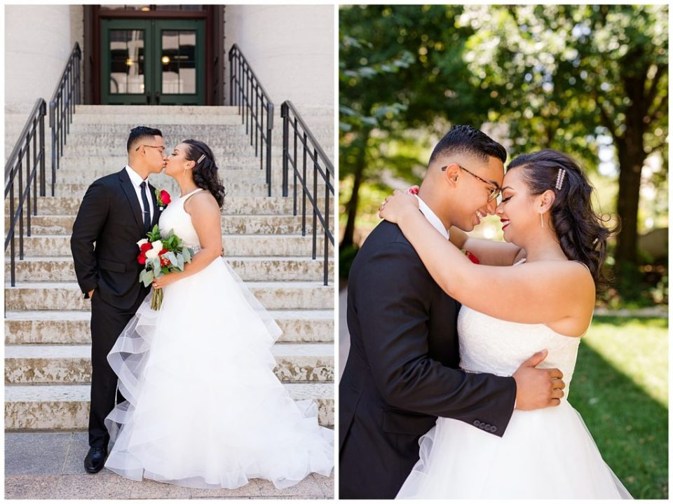 bride with arms around groom at ohio statehouse