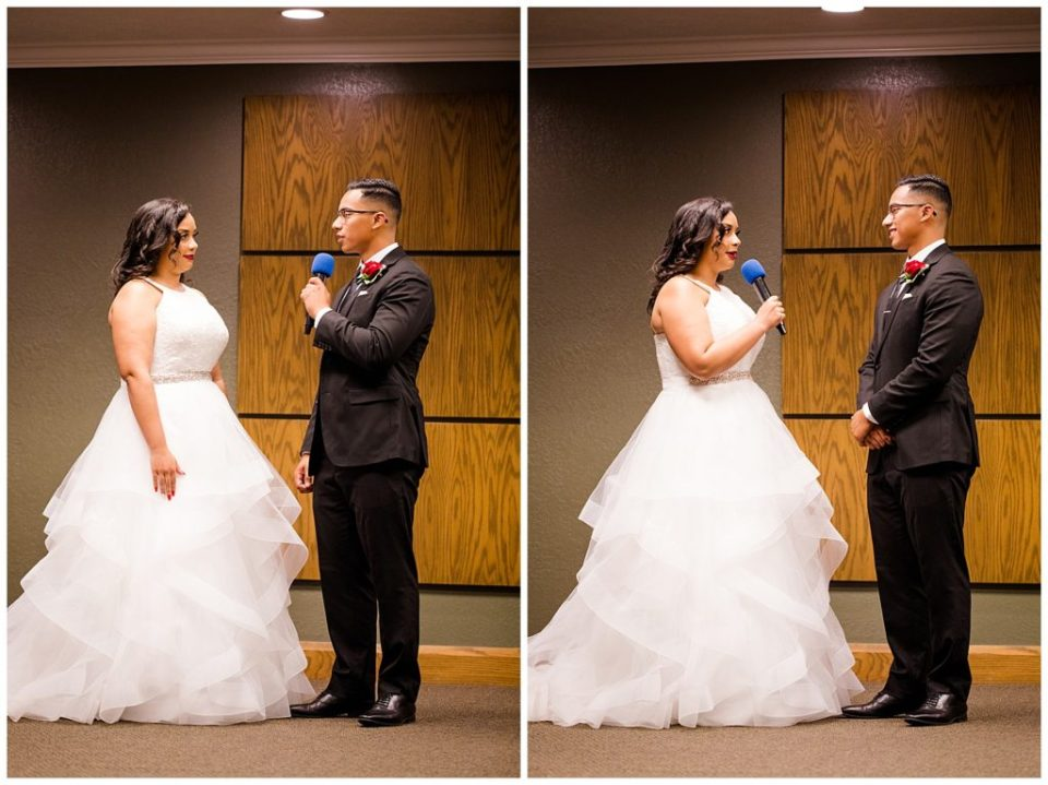A photograph of the groom repeating his vows to the bride, and a view of the bride repeating her vows to the groom at their wedding ceremony by Columbus OH wedding photography specialist, Alayna Parker Photography