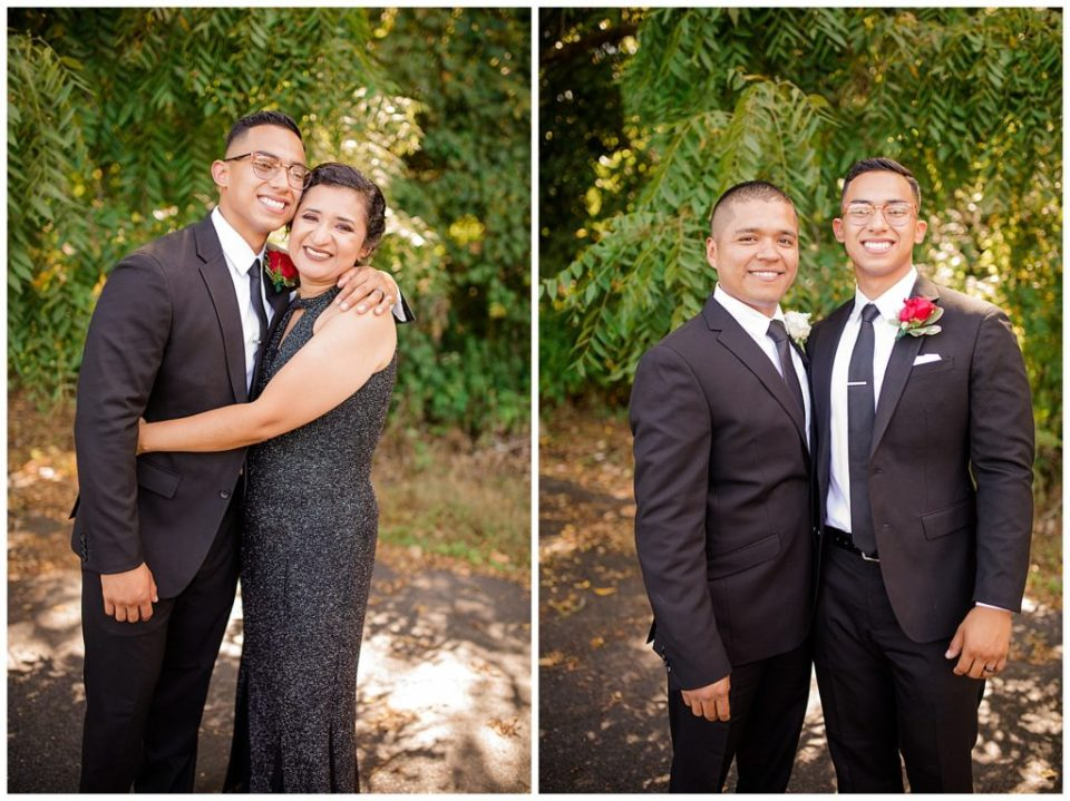 A photograph of the groom and his mother hugging, and a view of the groom and a family member together by Columbus OH wedding photography specialist, Alayna Parker Photography