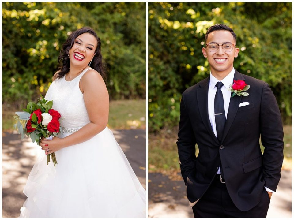 A picture of the bride joyfully smiling after the wedding, and a view of the groom with a happy smile by Columbus  wedding photography specialist, Alayna Parker Photography