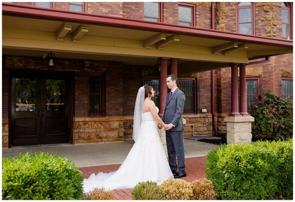 bride and groom share first look at station 67