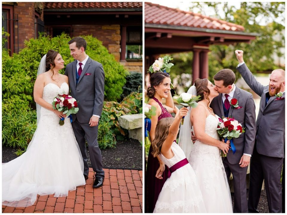bride and groom kiss while bridal party cheers at station 67