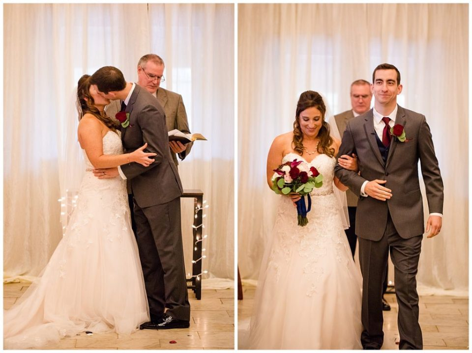 A picture of the bride and groom kissing after exchanging vows, then one of them walking down the aisle as a new couple at a Station 67 Columbus OH wedding by Alayna Parker Photography