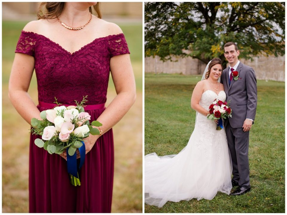 An image of a bridesmaid's dress and bouquet, also one of the bride and groom smiling together as they stand outdoors at a Station 67 Columbus  wedding by Alayna Parker Photography