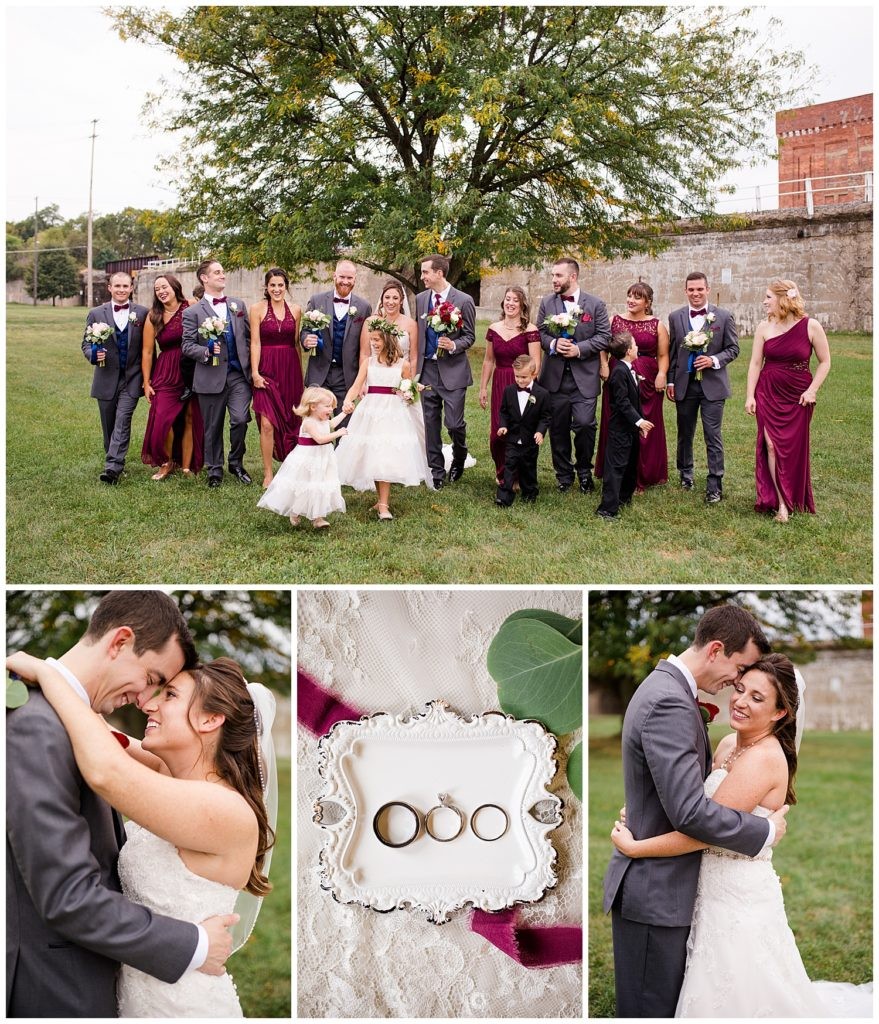 collage of images from Tim & April's at their Station 67 Columbus wedding