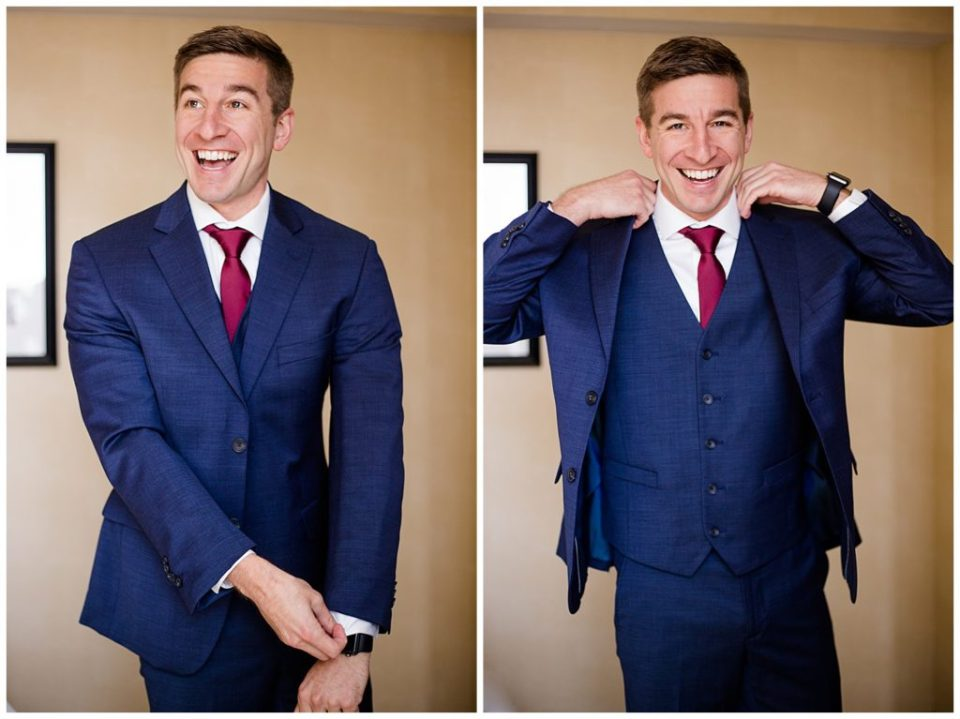 An image of a happy groom adjusting his tuxedo jacket, getting ready for his wedding by Columbus Ohio wedding photographer, Alayna Parker Photography