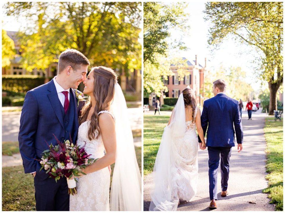 bride and groom walking at schiller park in german village