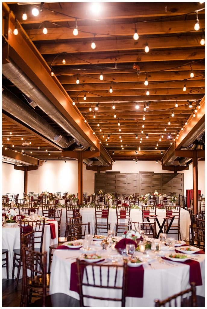 long head table and round guest tables at copius