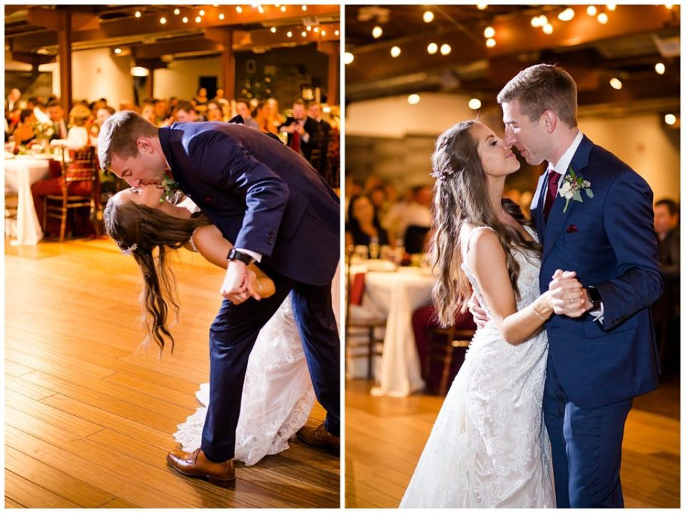 groom dips bride during first dance at copius