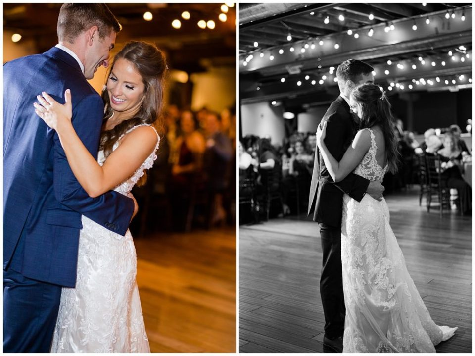 black and white image of bride laying head on groom's shoulder during first dance