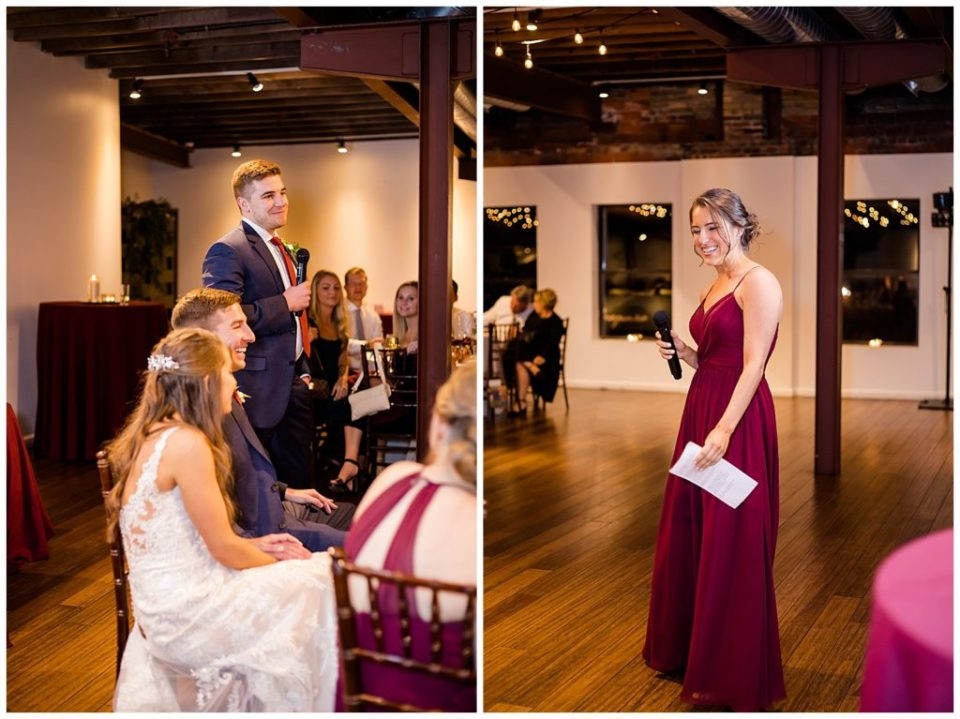 best man and maid of honor giving speeches at copius