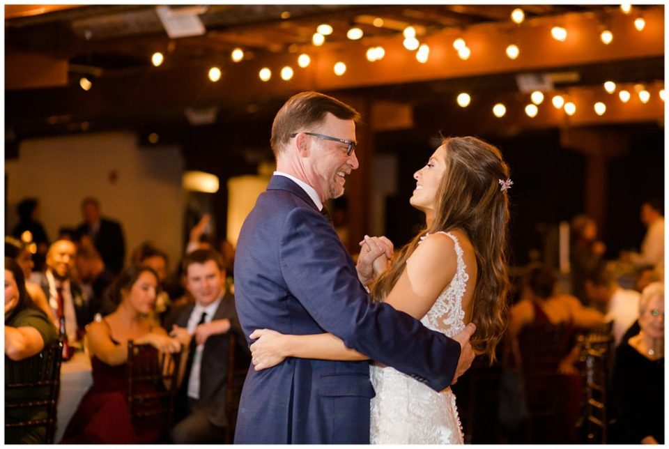 father and bride share dance at copius