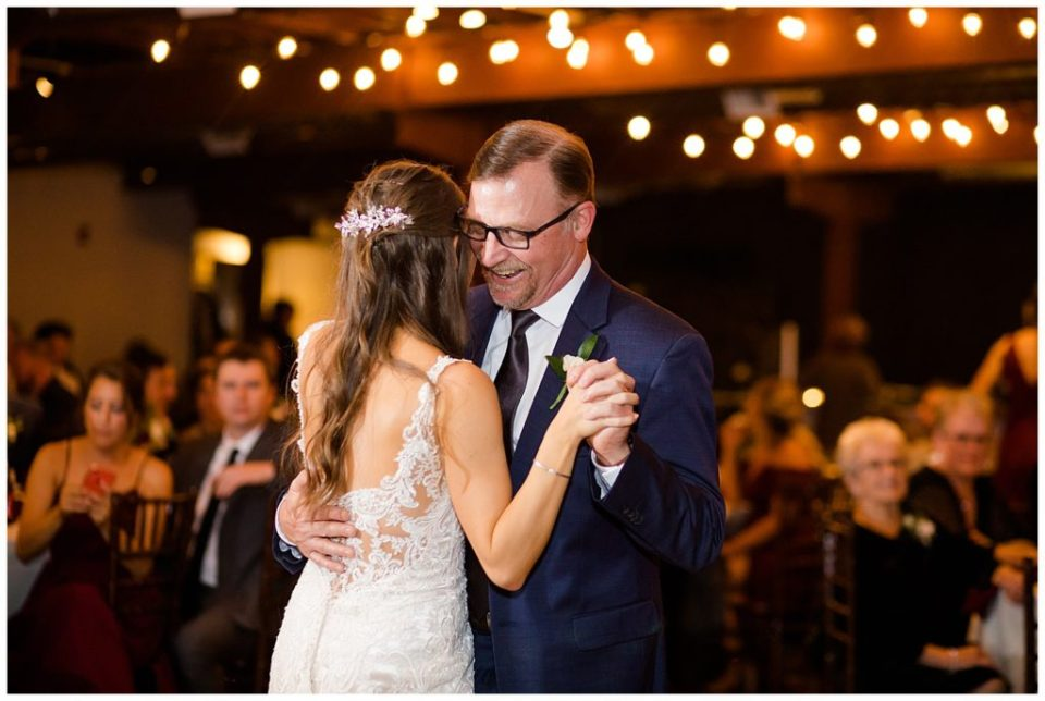 bride and father dancing at copius
