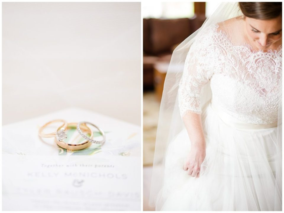 An image of a closeup of the wedding rings resting on the wedding invitation, and a quick, relaxed moment of the bride in her beautiful dress at a Nationwide Hotel and Conference Center wedding by Columbus Ohio wedding photographer, Alayna Parker Photography