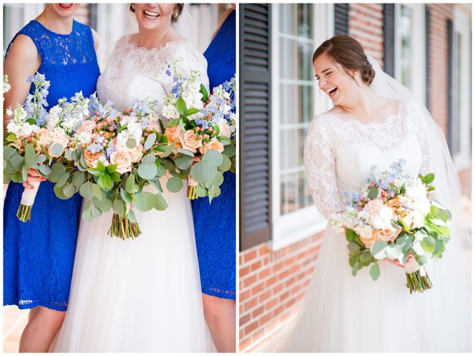 A picture of the bride and bridesmaids holding their bouquets together, and a happy view of the bride relaxed and laughing at a Nationwide Conference Center wedding by Columbus  wedding photographer, Alayna Parker Photography