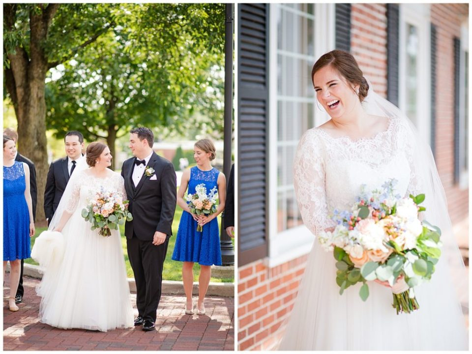 A photograph of the bride and groom standing outside, smiling at each other, and a view of the happy, smiling bride with her bouquet at a Nationwide Conference Center wedding by Columbus OH wedding photographer, Alayna Parker Photography