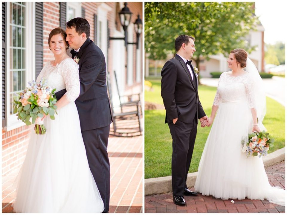 A photograph of the groom tenderly embracing the bride from behind as they smile together, and a relaxed view of the bride and groom standing and holding hands at a Nationwide Hotel and Conference Center wedding by Columbus OH wedding photographer, Alayna Parker Photography
