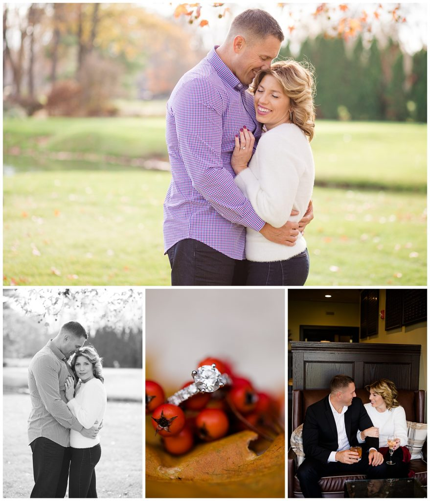 Collage of photographs from a Columbus Ohio engagement photography session at Brookside Golf and Country Club, by Alayna Parker Photography