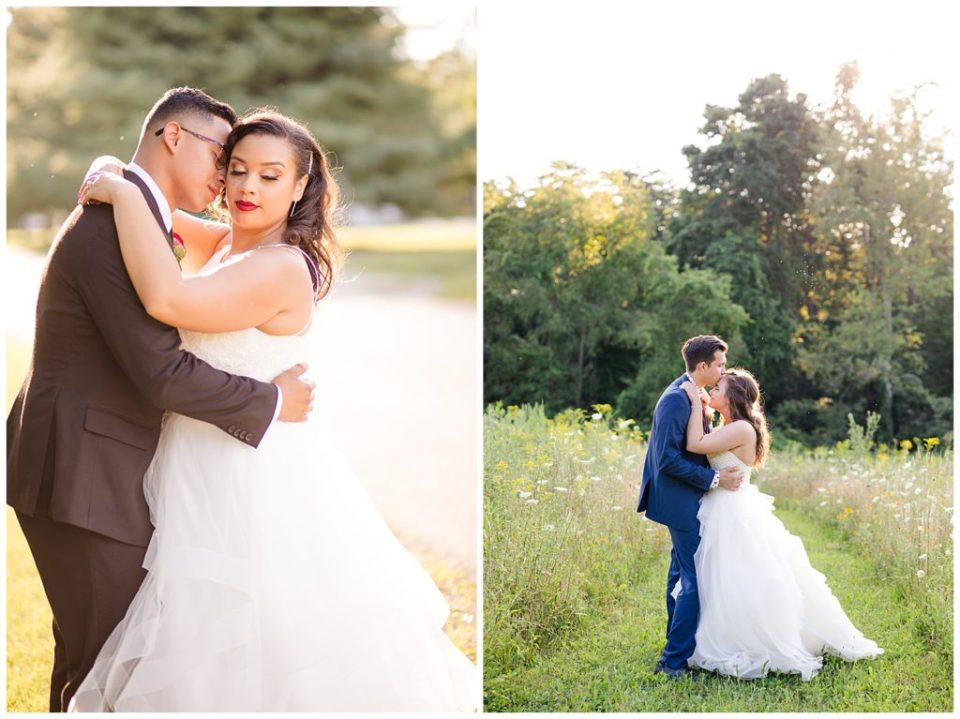 bride and groom during golden hour at mohican gardens
