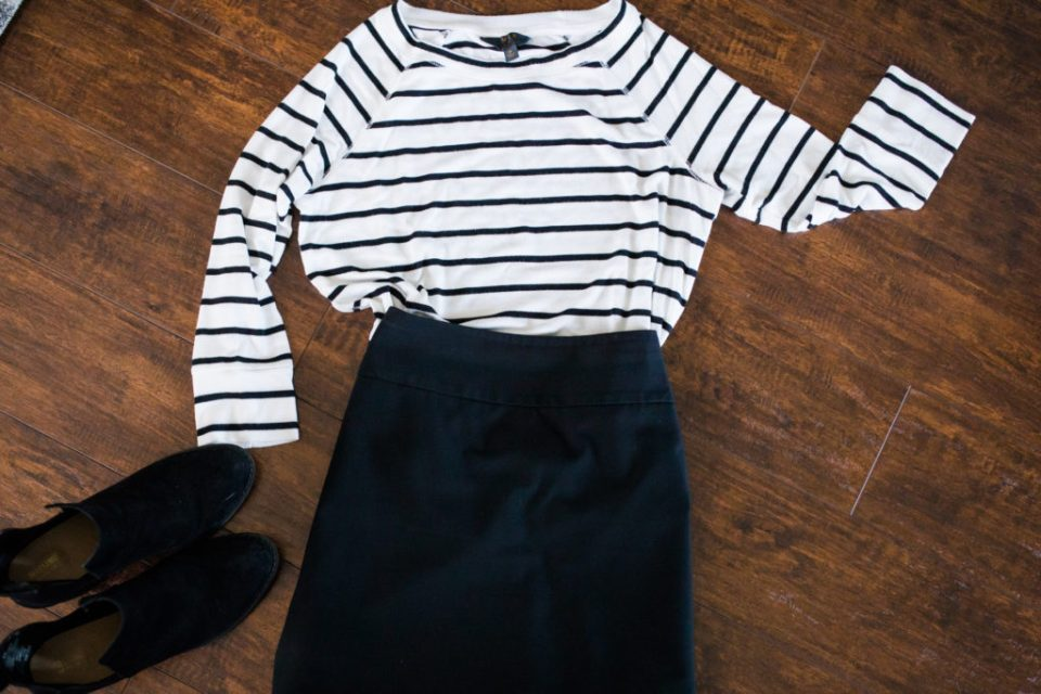 how to style a black and white striped top dressy