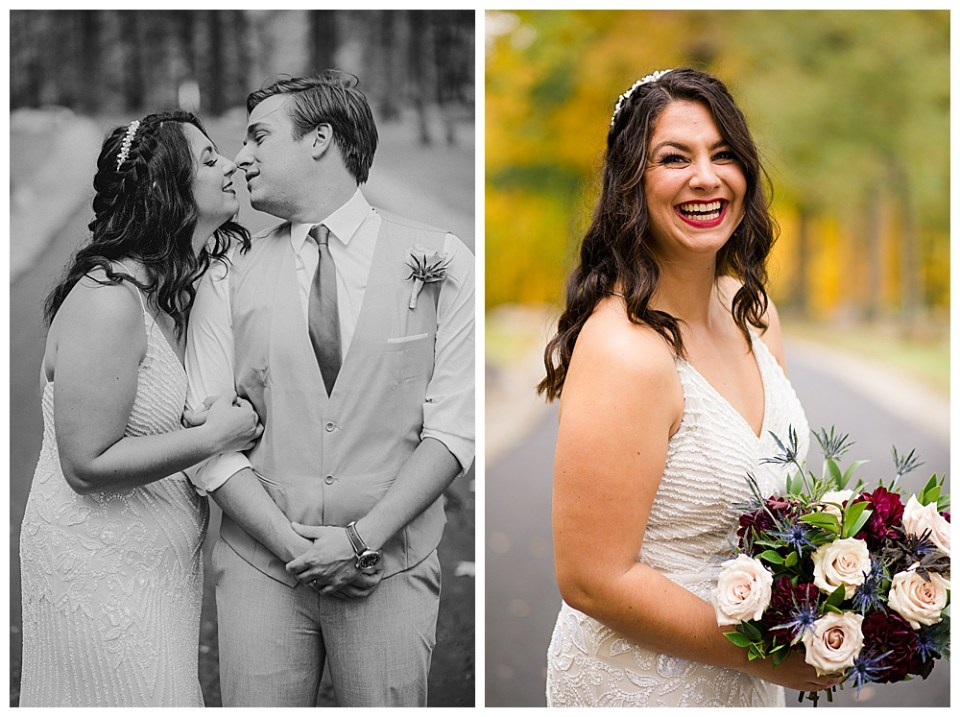 A photograph in black and white of the bride and groom romantically standing close as the groom turns his head to kiss the bride and a view of the bride smiling happily, holding her lovely bouquet at Dorral Farm in Marysville, OH