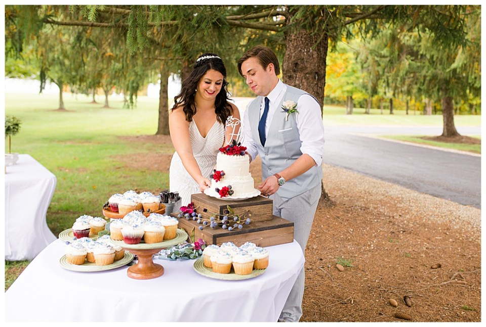 A picture of the bride and groom cutting their beautiful wedding cake that sits on a table full of cupcakes decorated for their guests at their outdoor wedding reception