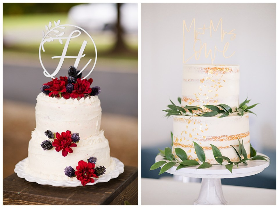 two examples of wedding cake designs with a monogram initial and green leaves