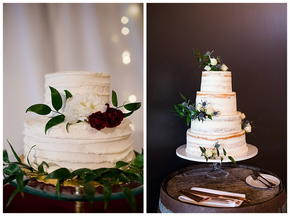 two wedding cake designs with greenery