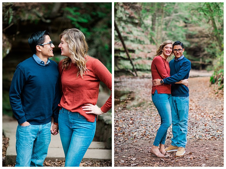 photographs of newly engaged Jenna and Ruben as they pose in Hocking hills for their engagement photos