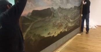 VÍDEO| El Cuadro 'La Batalla de Almansa' ya está en la localidad