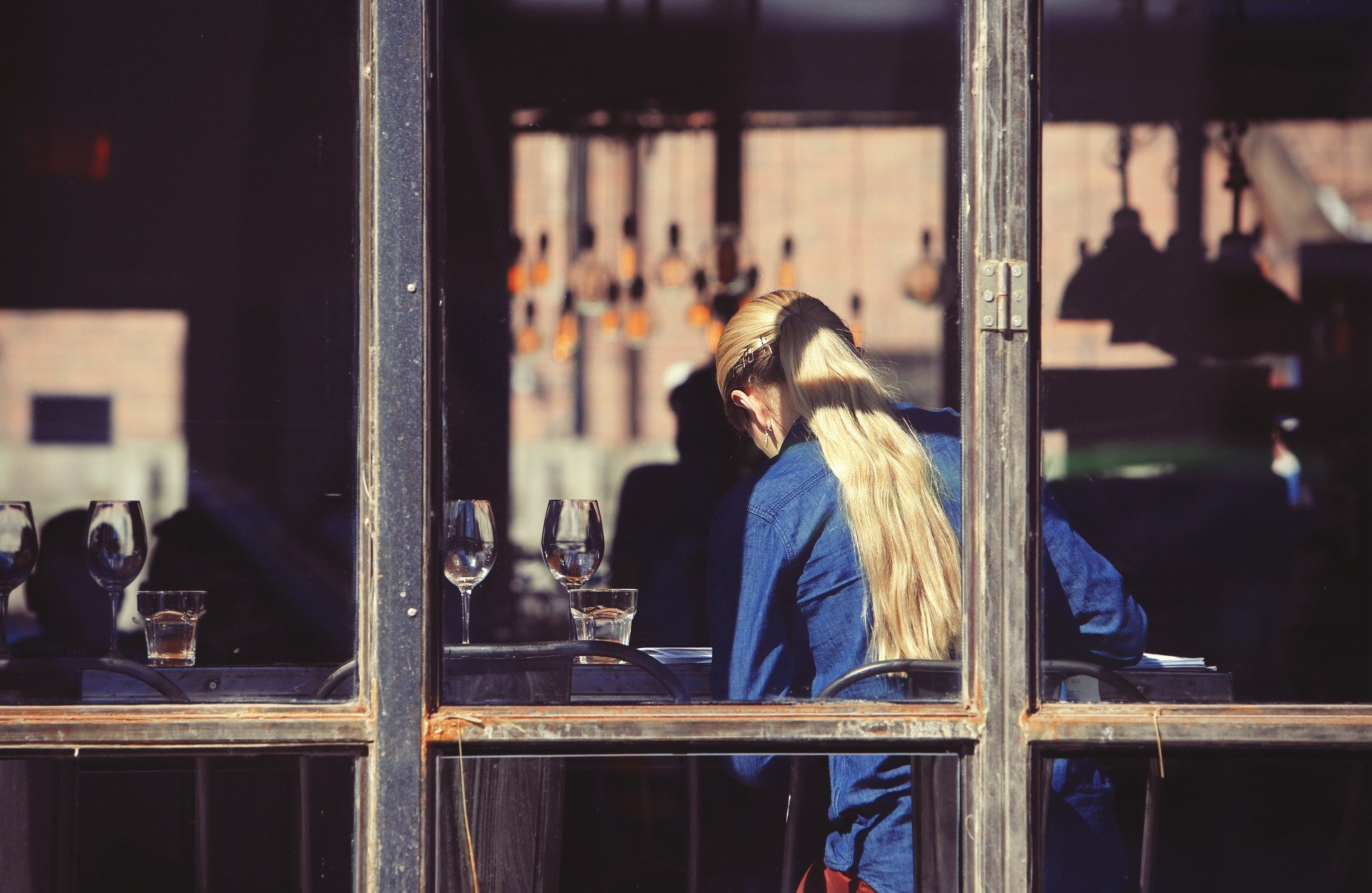 mujer, bar, hostelería