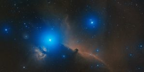 real astronomic picture taken using telescope of horsehead nebula, part of a large molecular cloud complex in orion constellation, approximately at 1500 light years from earth